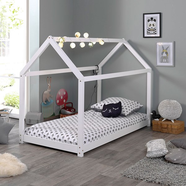 Stylish Kids House Bed in White