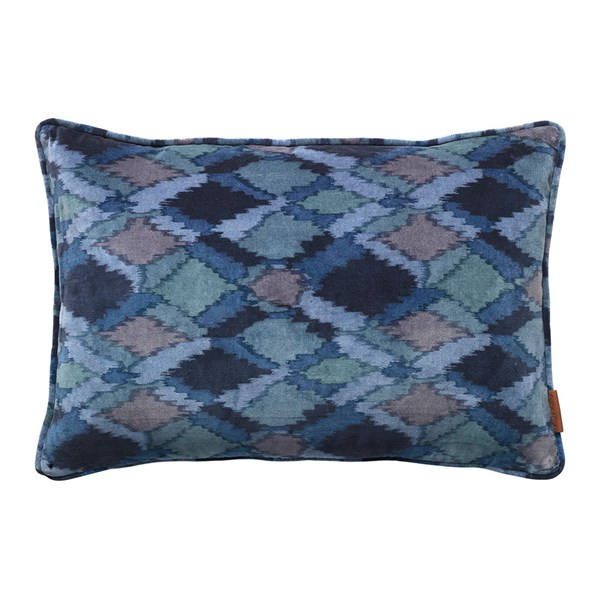 Velvet Camouflage Cushion in Blue