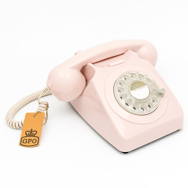 GPO 746 Retro Rotary Dial Phone in Carnation Pink
