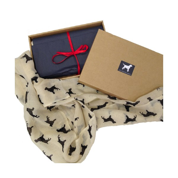 Spaniel Animal Print Cashmere Scarf in a Gift Box