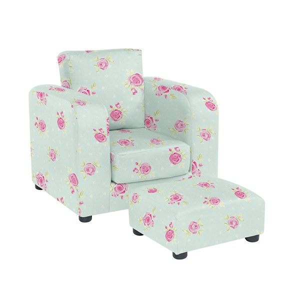 Kids Chair with Footstool in Flower Print