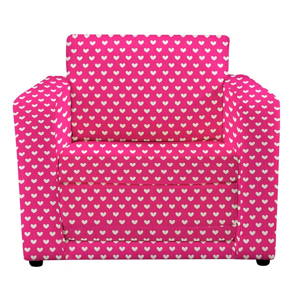 Childrens folding chair bed in Pink Hearts
