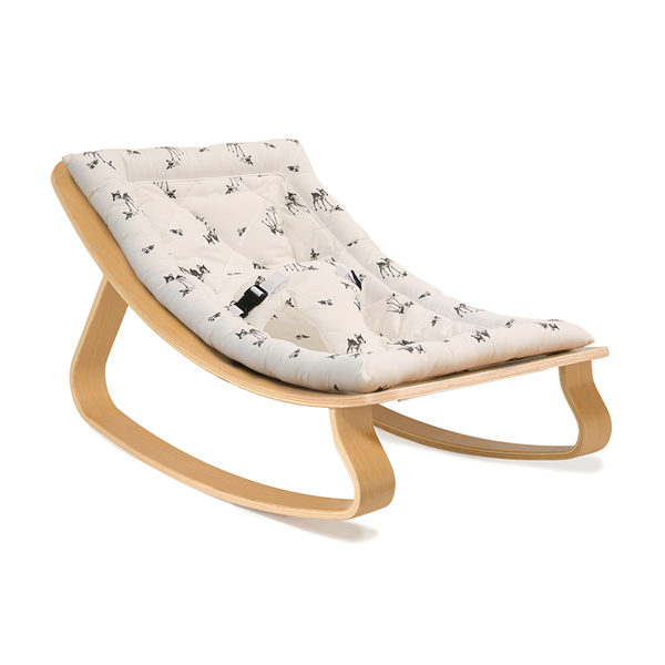 Levo Baby Rocker in Beech Wood with Rose in April Fawn Cushion