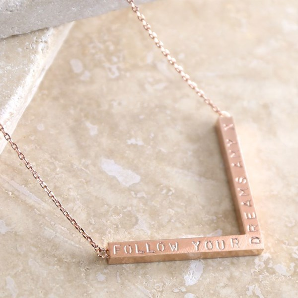 Personalised Chevron Necklace in Rose Gold