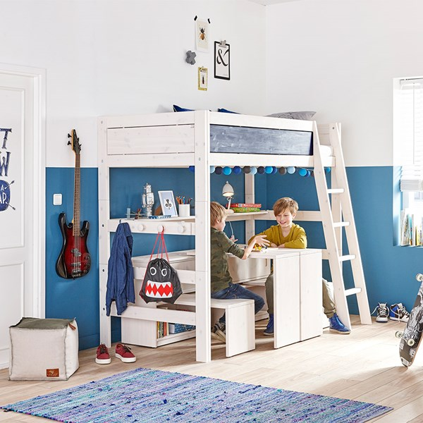 Kids High Sleeper Bed with Slanted Ladder