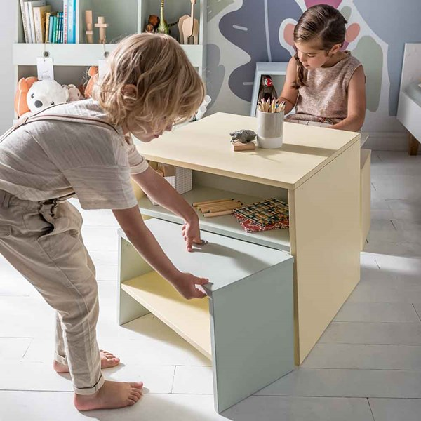 Kids Pastel Table and Chair with Storage Shelf