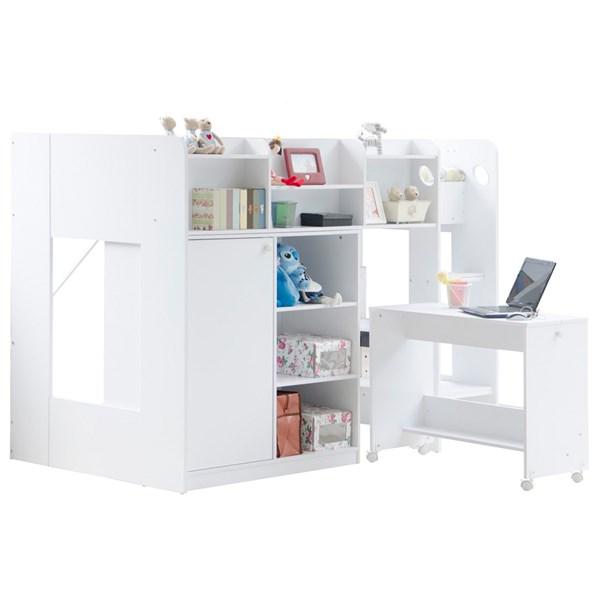 Kids Wizard High Sleeper Workstation bed in White