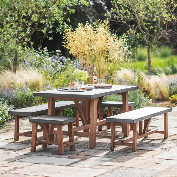 Garden Trading Chilson Table, Bench & Stool Dining Set for Indoor Or Outdoor Use