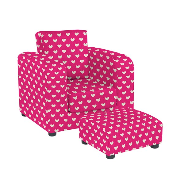 Kids Pink Heart Chair and matching stool