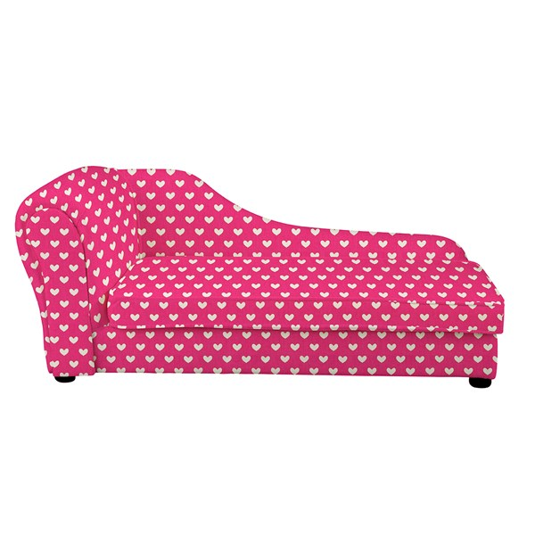 Kids Chaise Longue in Pink Hearts Design