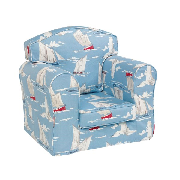 Childrens Arm Chair in Blue Boat Design