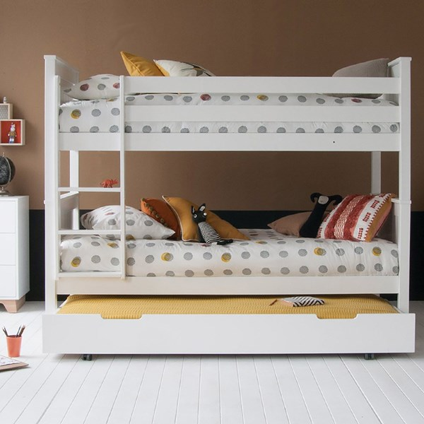 Classic Beech Bunk Bed with Trundle Drawer