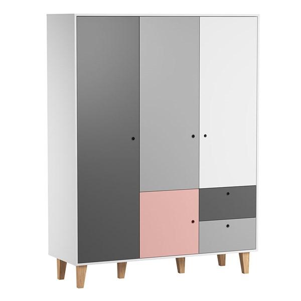 Vox Concept 3 Door Wardrobe in Grey & Pink