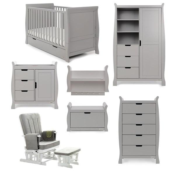 Obaby Stamford Sleigh Cot Bed 7 Piece Nursery Furniture Set