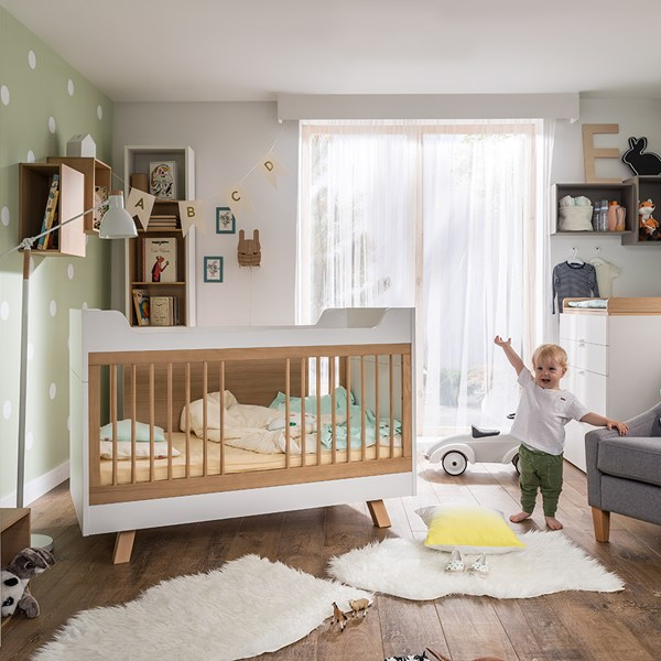 White and Oak Baby Cot Bed from Vox