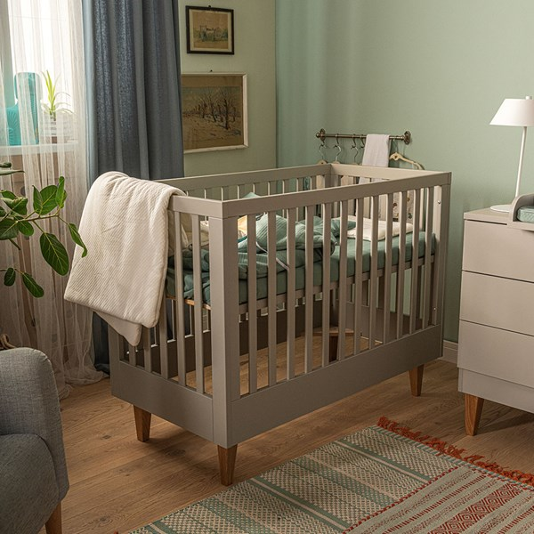 Vox Lounge Baby Cot in Light Grey & Oak