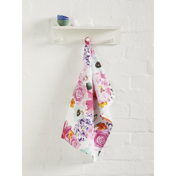Floral Kitchen Tea Towel in Cora Design