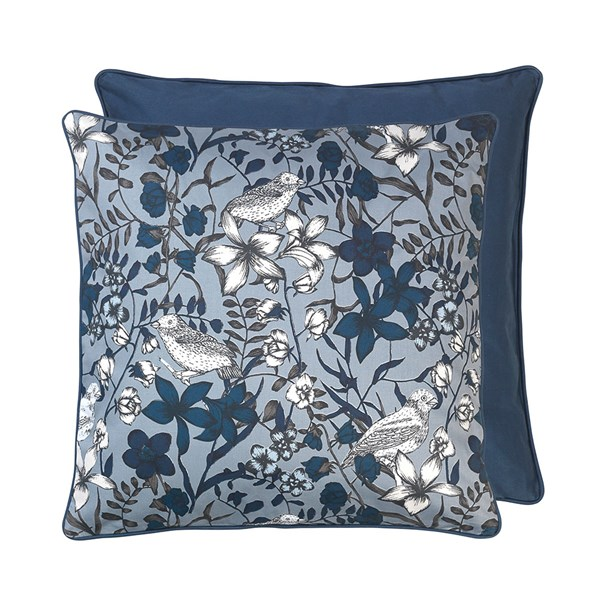 Floral Bird Print Cotton Cushion in Blue Wing