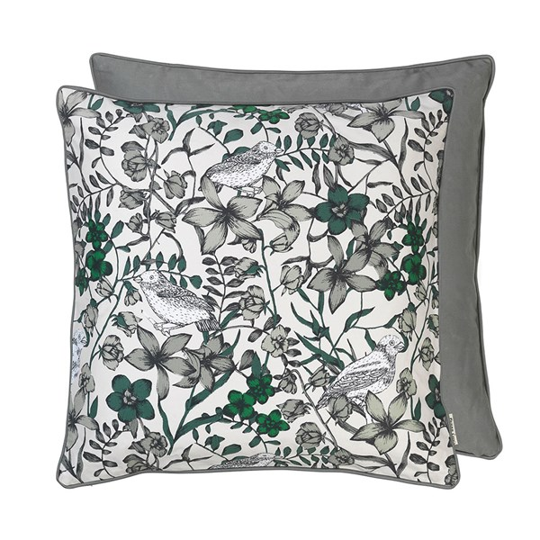 Floral Bird Print Cotton Cushion in Dove
