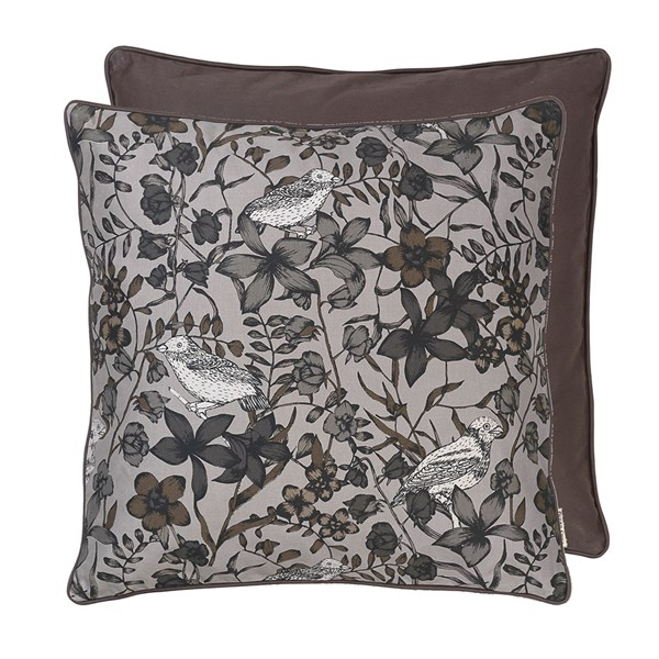 Floral Bird Print Cotton Cushion in Steel