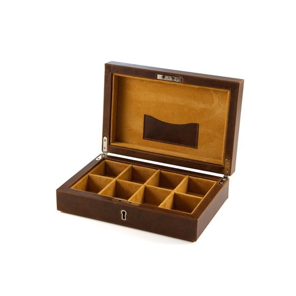 DAINES & HATHAWAY Leather 8 Compartment Cufflink Box