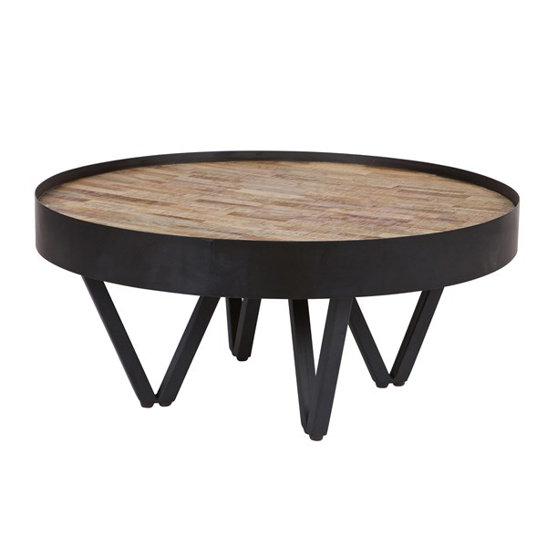 Dax Round Coffee Table with Wooden Inlay