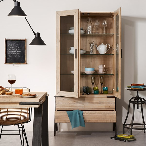 Rustic Display Unit with 2 Doors and 2 Drawers