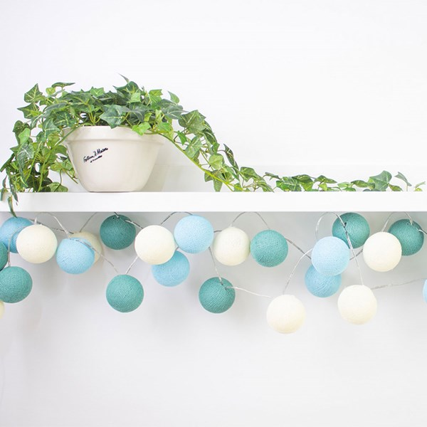 Cable and Cotton Duck Egg Cotton Ball Lights