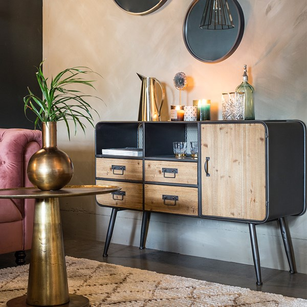 Living Room Storage Cabinet with 4 Drawers