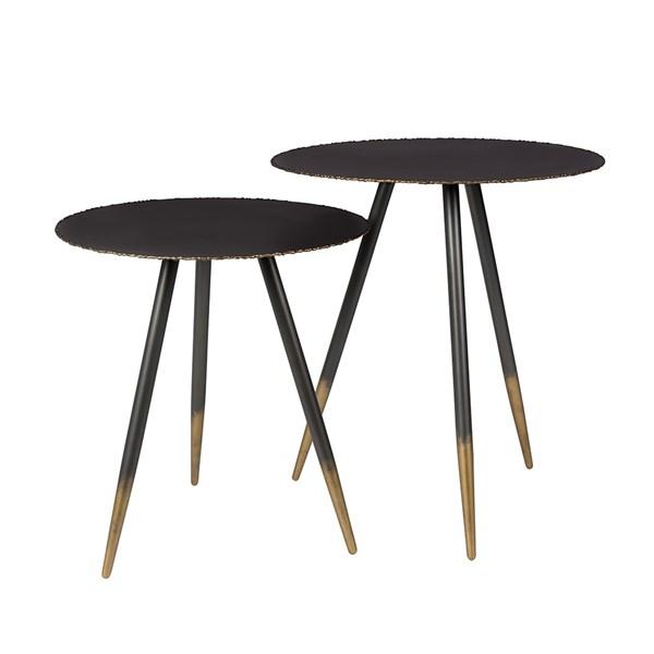 Dutchbone Stalwart Set of 2 Side Tables in Black and Gold