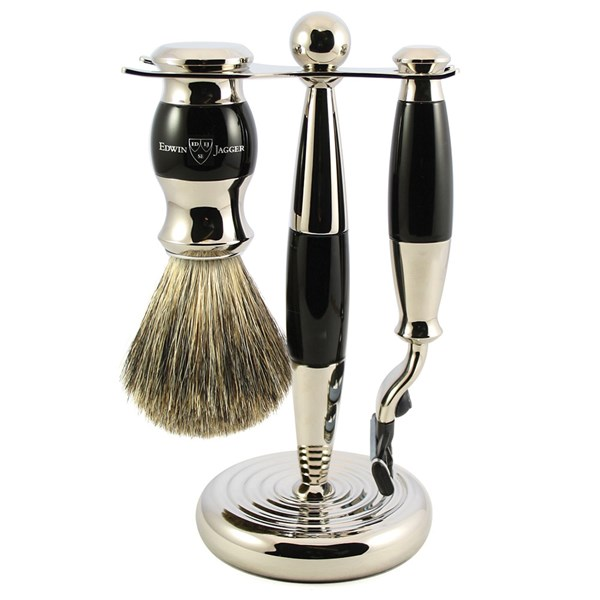Edwin Jagger Men's Shaving Brush Set in Ebony Finish