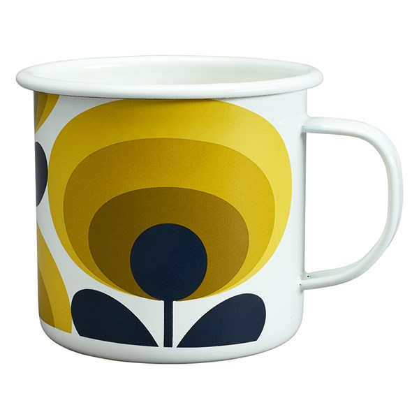 Orla Kiely Enamel Mug in 70s Oval Flower Dandelion Yellow Print
