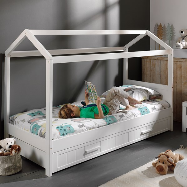 White Unique Kids House Cabin Bed