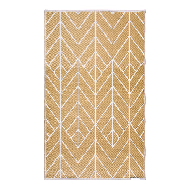 Gold and Cream Reversible Outdoor Rug from Fab Hab