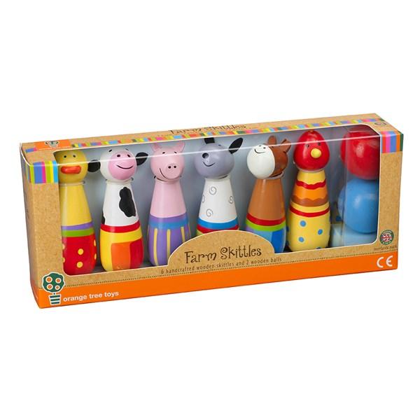 Farm Yard Bowling Ball Toy Skittles by Orange Tree Toys