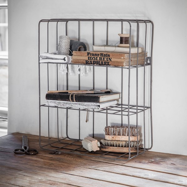 Garden Trading Farringdon Wire Wall Crate with 2 Shelves