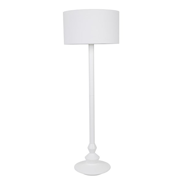 Zuiver Finlay Velvet Look Floor Lamp in White