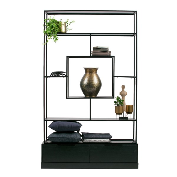 Fons Black Shelving Unit with Drawers by Woood