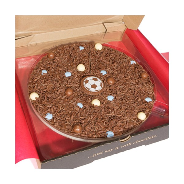 Football Chocolate Pizza by The Gourmet Chocolate Pizza Company