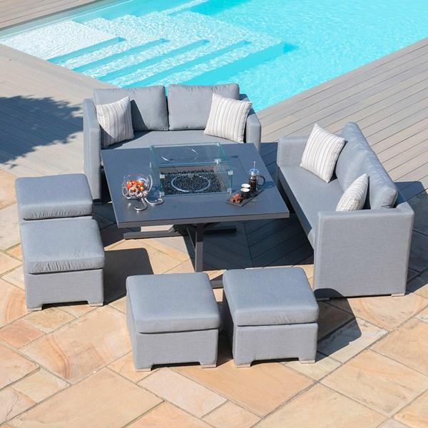 Maze Rattan Fuzion Cube Sofa Set with Fire Pit