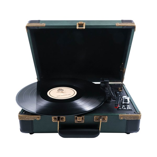 GPO Ambassador Suitcase Record Player Turntable in Green and Black