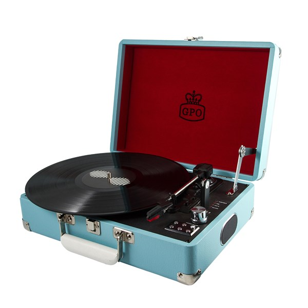 GPO Attache Retro Record Player in French Blue Suitcase Design