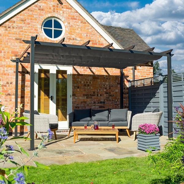 Aluminium Metal Freestanding Garden Pergola with Canopy