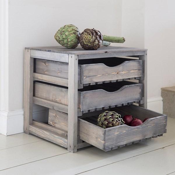 Vegetable Storage Unit 3 Drawer in Pine