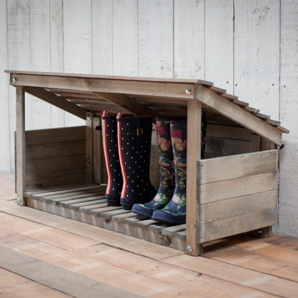 Wooden Welly Rack and Parcel Shelter