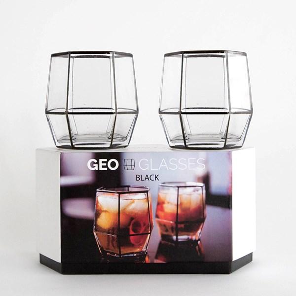 Set of 2 Handblown Geo Glasses in Black
