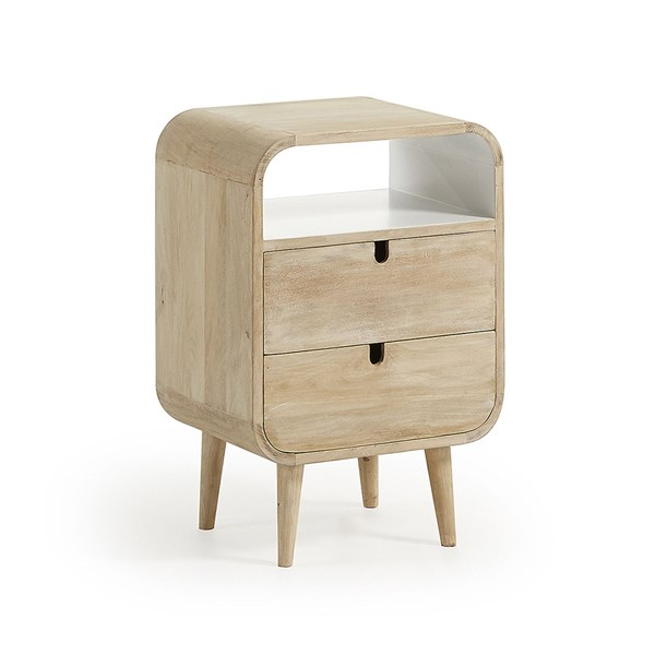 Gerald Mango Wood Bedside Table with 2 Drawers by La Forma