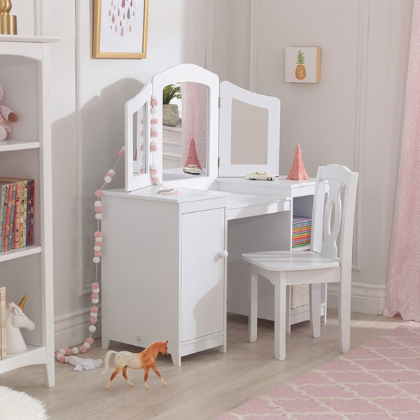 KidKraft Deluxe Vanity & Chair in White