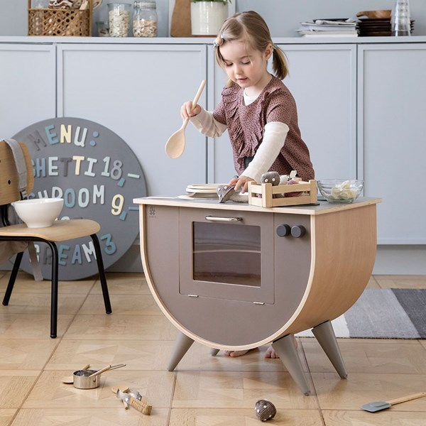 Sebra Wooden Play Kitchen in Warm Grey