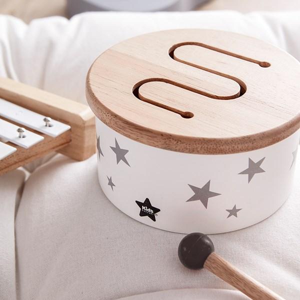 Children's Mini Wooden Toy Drum in White